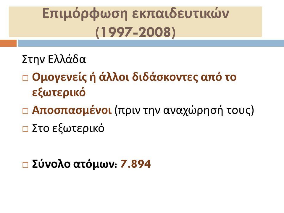 Επιμόρφωση εκπαιδευτικών (1997-2008)