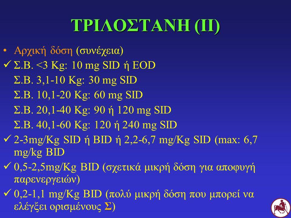 ΤΡΙΛΟΣΤΑΝΗ (ΙΙ) Αρχική δόση (συνέχεια) Σ.Β. <3 Kg: 10 mg SID ή EOD