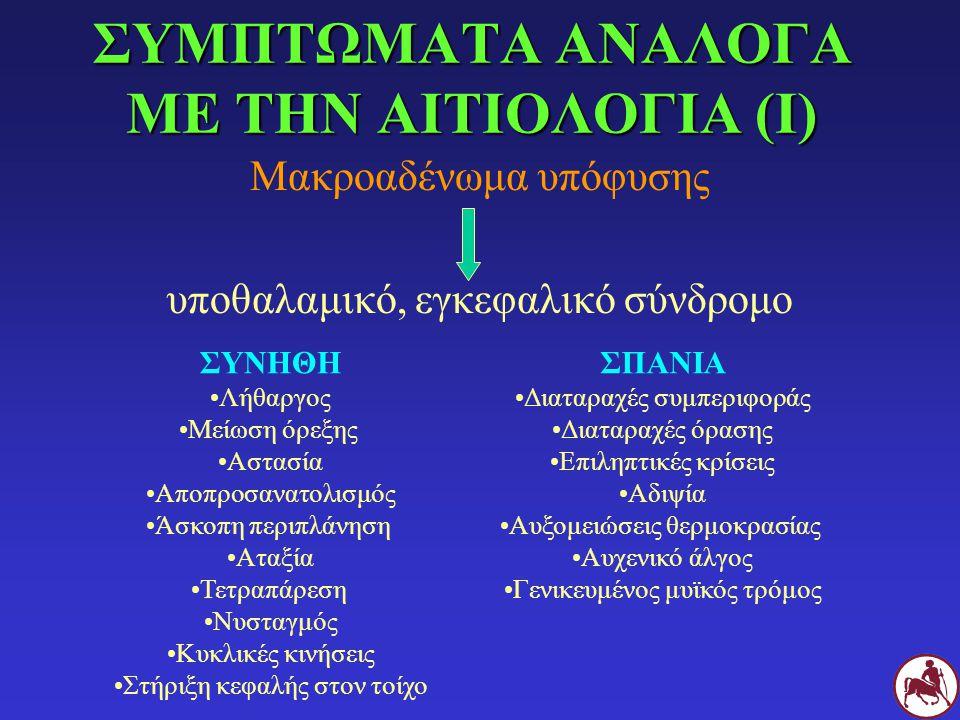ΣΥΜΠΤΩΜΑΤΑ ΑΝΑΛΟΓΑ ΜΕ ΤΗΝ ΑΙΤΙΟΛΟΓΙΑ (Ι)