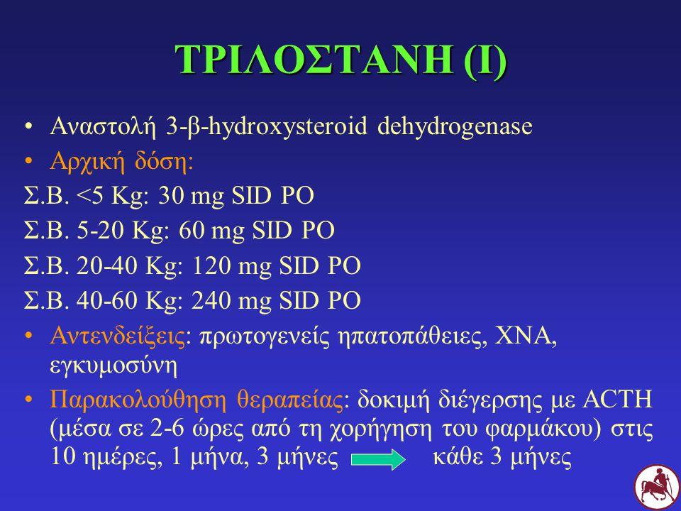 ΤΡΙΛΟΣΤΑΝΗ (Ι) Αναστολή 3-β-hydroxysteroid dehydrogenase Αρχική δόση:
