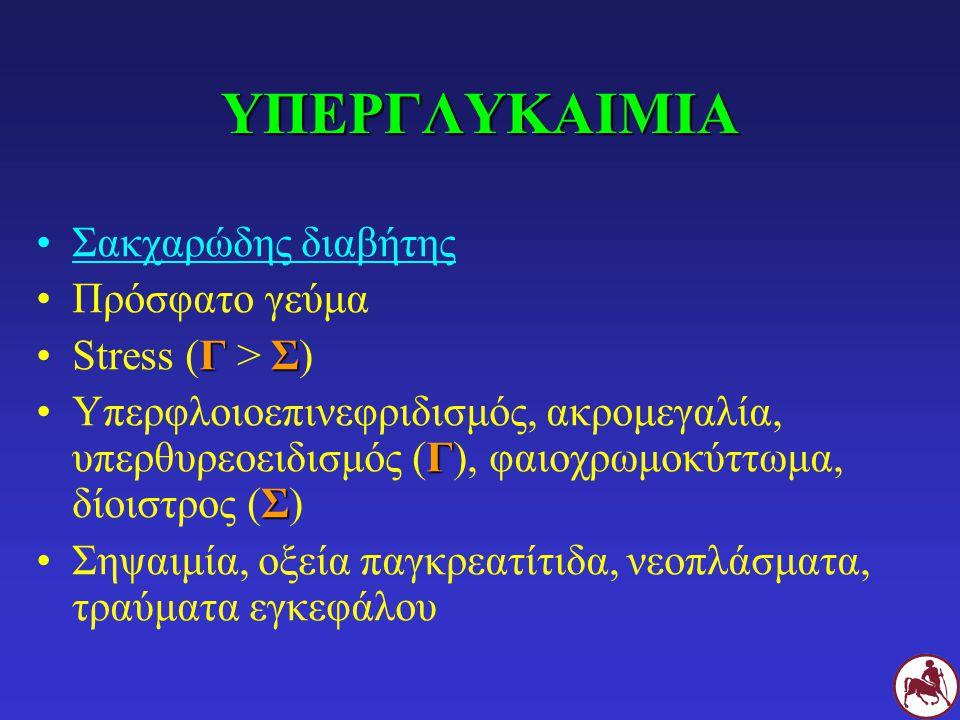 ΥΠΕΡΓΛΥΚΑΙΜΙΑ Σακχαρώδης διαβήτης Πρόσφατο γεύμα Stress (Γ > Σ)
