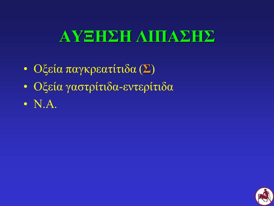 ΑΥΞΗΣΗ ΛΙΠΑΣΗΣ Οξεία παγκρεατίτιδα (Σ) Οξεία γαστρίτιδα-εντερίτιδα