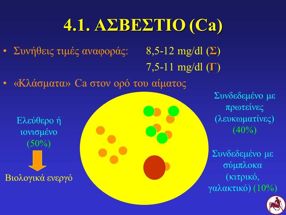 4.1. ΑΣΒΕΣΤΙΟ (Ca) Συνήθεις τιμές αναφοράς: 8,5-12 mg/dl (Σ)