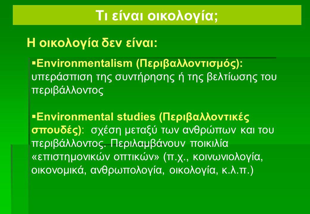 Τι είναι οικολογία; Η οικολογία δεν είναι: