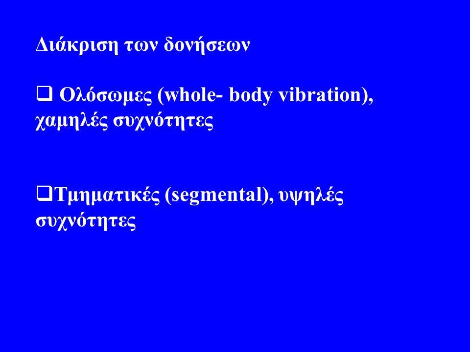 Διάκριση των δονήσεων Ολόσωμες (whole- body vibration), χαμηλές συχνότητες.