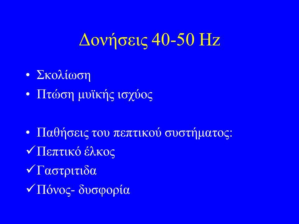 Δονήσεις 40-50 Hz Σκολίωση Πτώση μυϊκής ισχύος