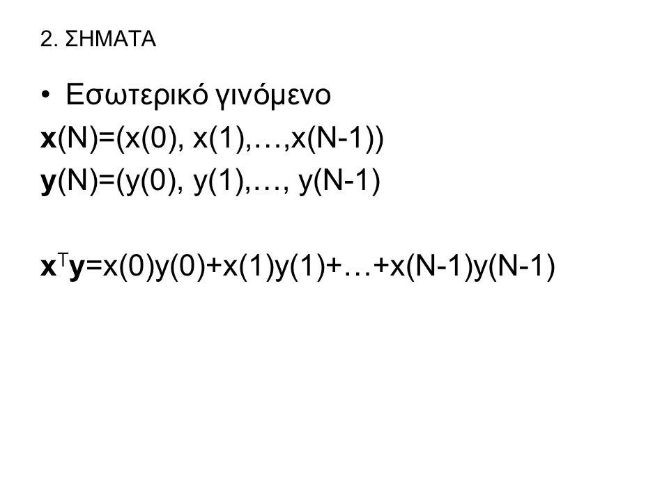 xTy=x(0)y(0)+x(1)y(1)+…+x(N-1)y(N-1)