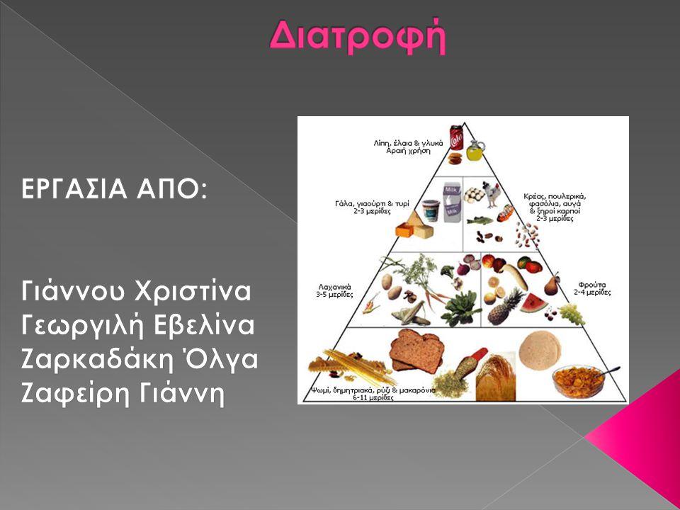 Διατροφή ΕΡΓΑΣΙΑ ΑΠΟ: Γιάννου Χριστίνα Γεωργιλή Εβελίνα Ζαρκαδάκη Όλγα