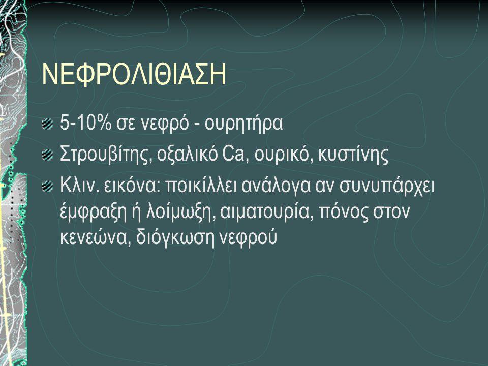 ΝΕΦΡΟΛΙΘΙΑΣΗ 5-10% σε νεφρό - ουρητήρα