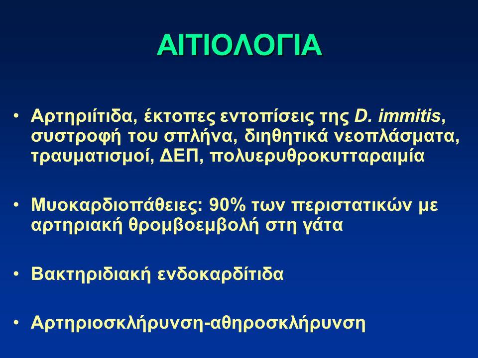 ΑΙΤΙΟΛΟΓΙΑ Αρτηριίτιδα, έκτοπες εντοπίσεις της D. immitis, συστροφή του σπλήνα, διηθητικά νεοπλάσματα, τραυματισμοί, ΔΕΠ, πολυερυθροκυτταραιμία.