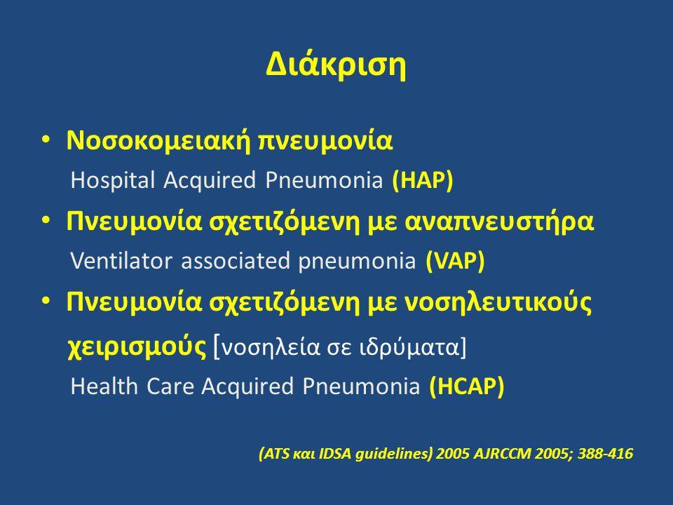 Διάκριση Νοσοκομειακή πνευμονία Πνευμονία σχετιζόμενη με αναπνευστήρα