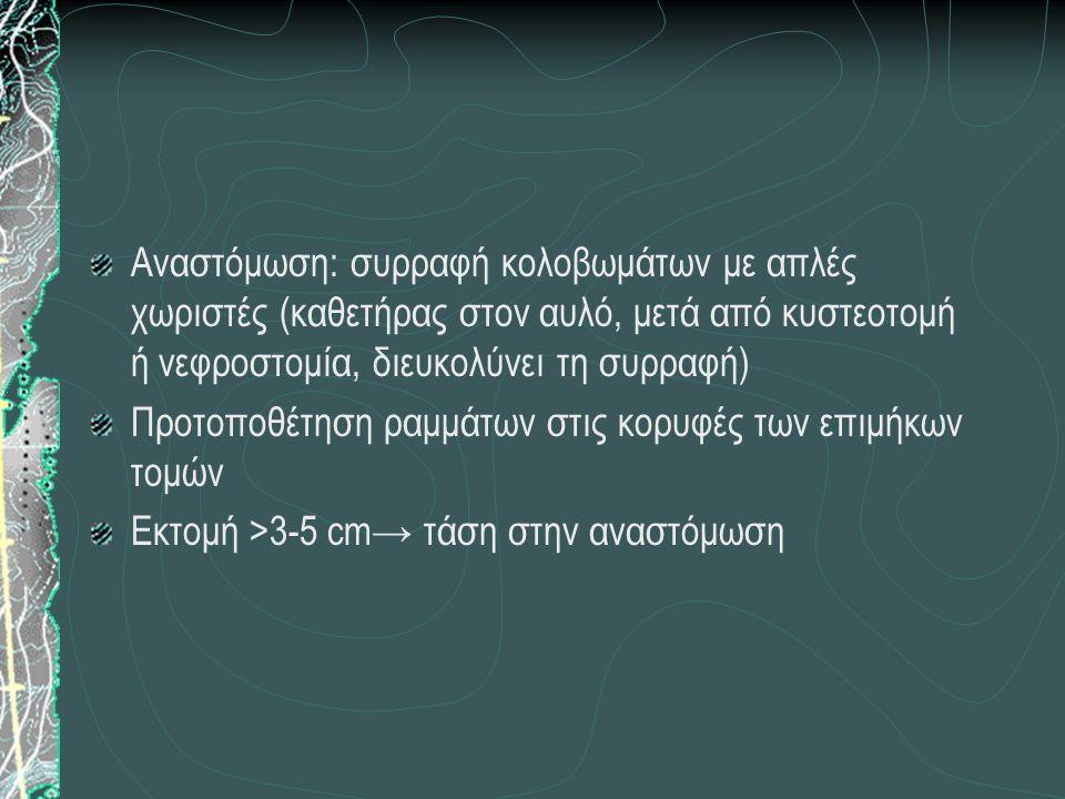 Αναστόμωση: συρραφή κολοβωμάτων με απλές χωριστές (καθετήρας στον αυλό, μετά από κυστεοτομή ή νεφροστομία, διευκολύνει τη συρραφή)