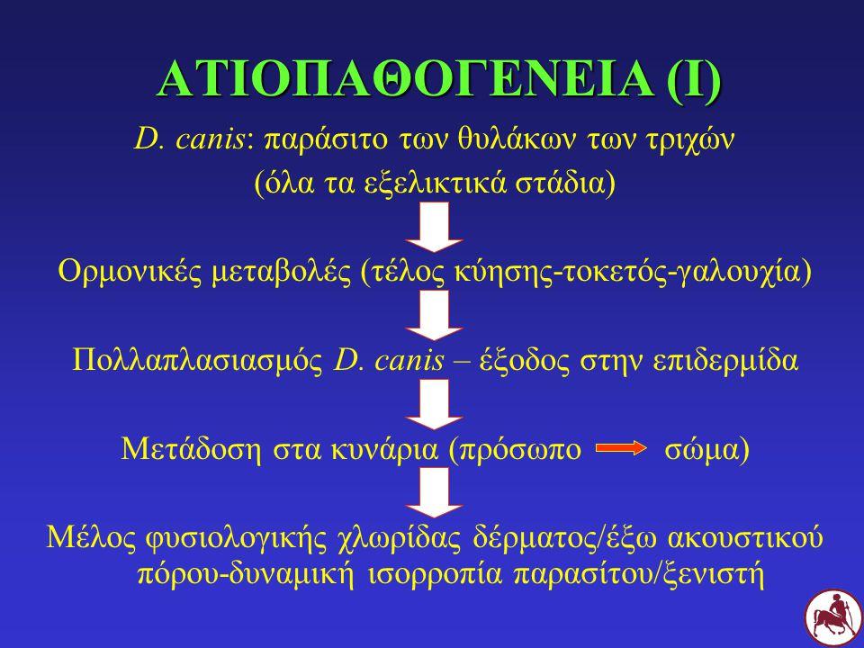 ΑΤΙΟΠΑΘΟΓΕΝΕΙΑ (Ι) D. canis: παράσιτο των θυλάκων των τριχών