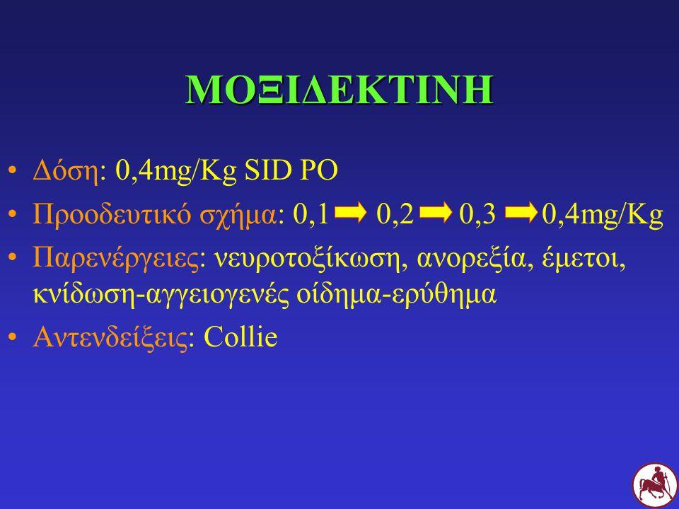 ΜΟΞΙΔΕΚΤΙΝΗ Δόση: 0,4mg/Kg SID PO