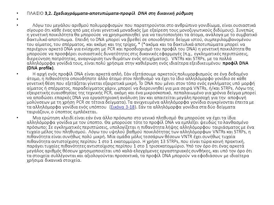 ΠΛΑΙΣΙΟ 3,2. Σχεδιαγράμματα-αποτυπώματα-προφίλ DNA στη δικανική ρύθμιση