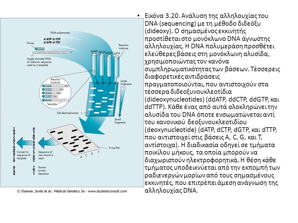 Εικόνα 3.20. Ανάλυση της αλληλουχίας του DNA (sequencing) με τη μέθοδο διδεόξυ (dideoxy).