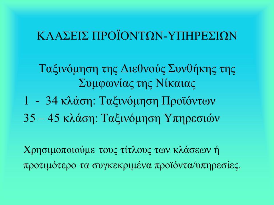 ΚΛΑΣΕΙΣ ΠΡΟΪΟΝΤΩΝ-ΥΠΗΡΕΣΙΩΝ