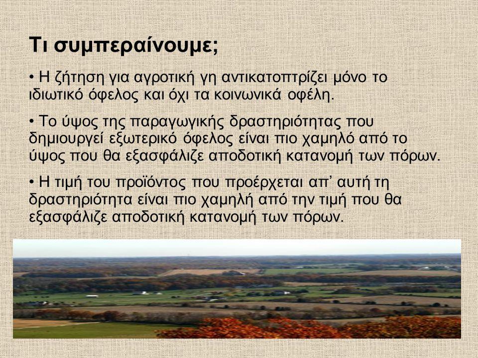 Τι συμπεραίνουμε; Η ζήτηση για αγροτική γη αντικατοπτρίζει μόνο το ιδιωτικό όφελος και όχι τα κοινωνικά οφέλη.