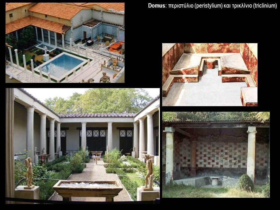 Domus: περιστύλιο (peristylium) και τρικλίνιο (triclinium)