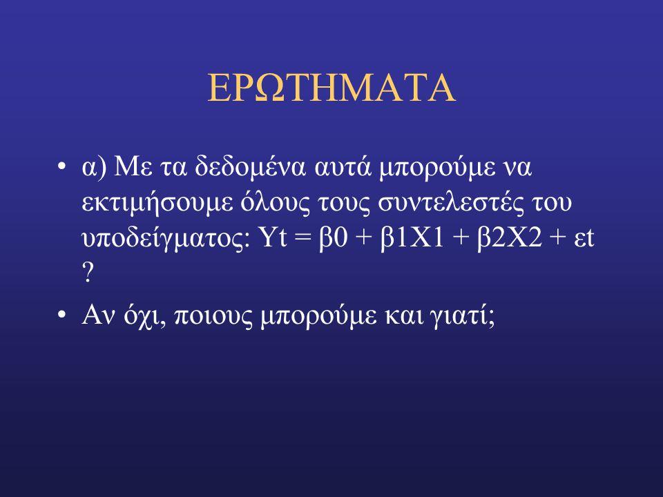 EΡΩΤΗΜΑΤΑ α) Με τα δεδομένα αυτά μπορούμε να εκτιμήσουμε όλους τους συντελεστές του υποδείγματος: Υt = β0 + β1Χ1 + β2Χ2 + εt