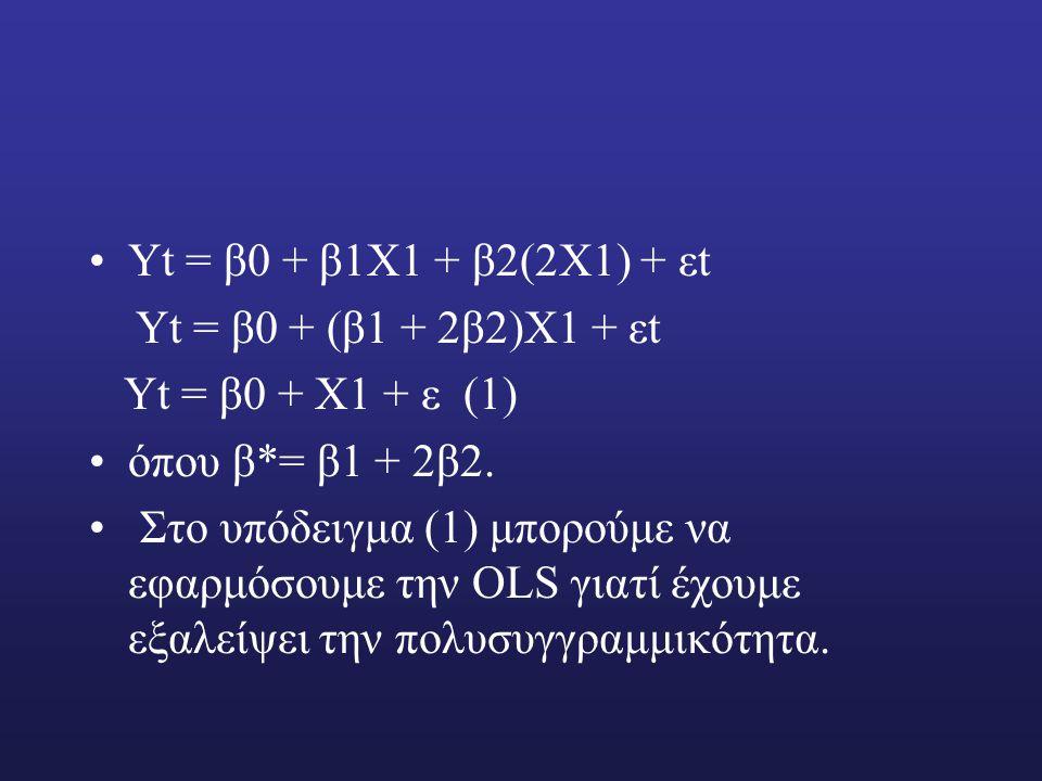 Υt = β0 + β1Χ1 + β2(2Χ1) + εt Υt = β0 + (β1 + 2β2)Χ1 + εt. Υt = β0 + Χ1 + ε (1) όπου β*= β1 + 2β2.