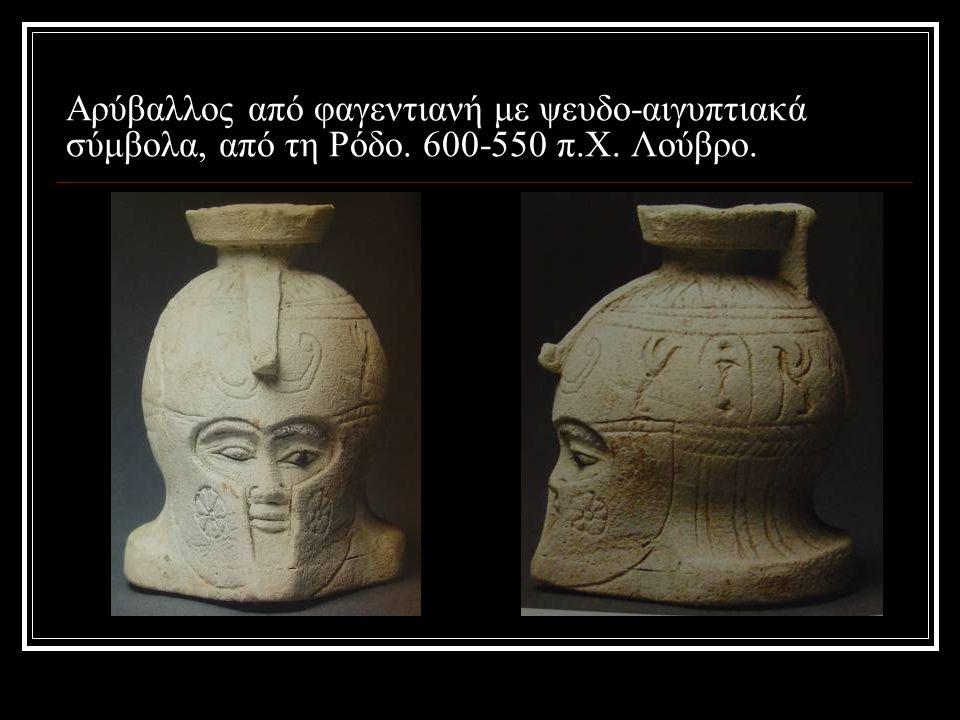 Αρύβαλλος από φαγεντιανή με ψευδο-αιγυπτιακά σύμβολα, από τη Ρόδο