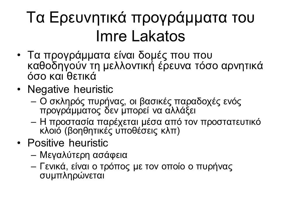 Τα Ερευνητικά προγράμματα του Imre Lakatos