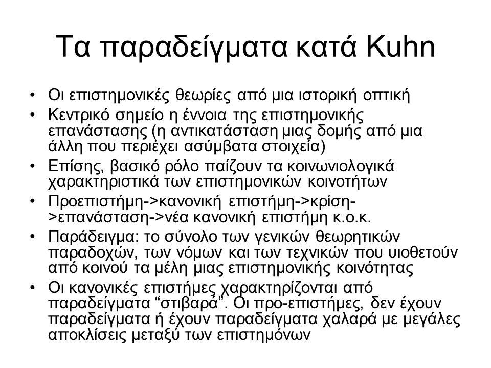 Τα παραδείγματα κατά Kuhn