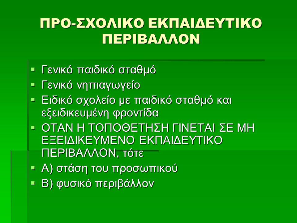 ΠΡΟ-ΣΧΟΛΙΚΟ ΕΚΠΑΙΔΕΥΤΙΚΟ ΠΕΡΙΒΑΛΛΟΝ