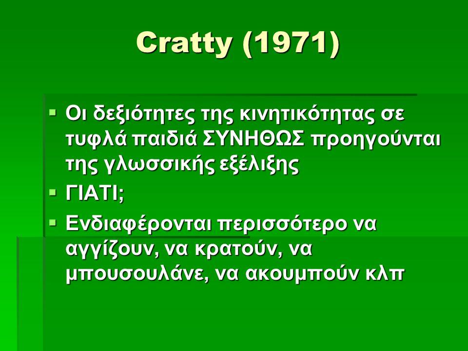 Cratty (1971) Οι δεξιότητες της κινητικότητας σε τυφλά παιδιά ΣΥΝΗΘΩΣ προηγούνται της γλωσσικής εξέλιξης.
