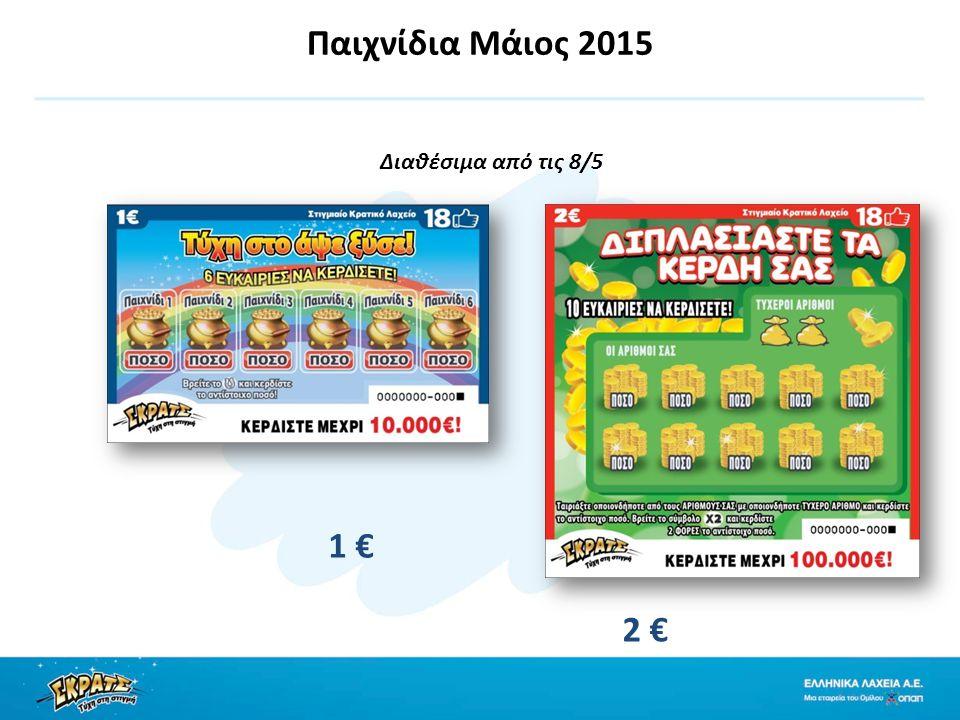 Παιχνίδια Μάιος 2015 Διαθέσιμα από τις 8/5 1 € 2 €