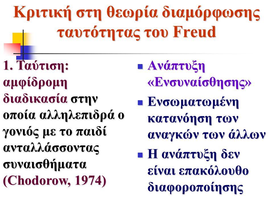 Κριτική στη θεωρία διαμόρφωσης ταυτότητας του Freud