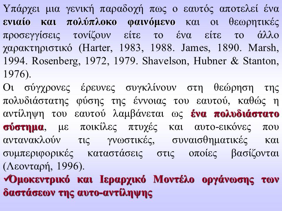 Υπάρχει μια γενική παραδοχή πως ο εαυτός αποτελεί ένα ενιαίο και πολύπλοκο φαινόμενο και οι θεωρητικές προσεγγίσεις τονίζουν είτε το ένα είτε το άλλο χαρακτηριστικό (Harter, 1983, 1988. James, 1890. Marsh, 1994. Rosenberg, 1972, 1979. Shavelson, Hubner & Stanton, 1976).