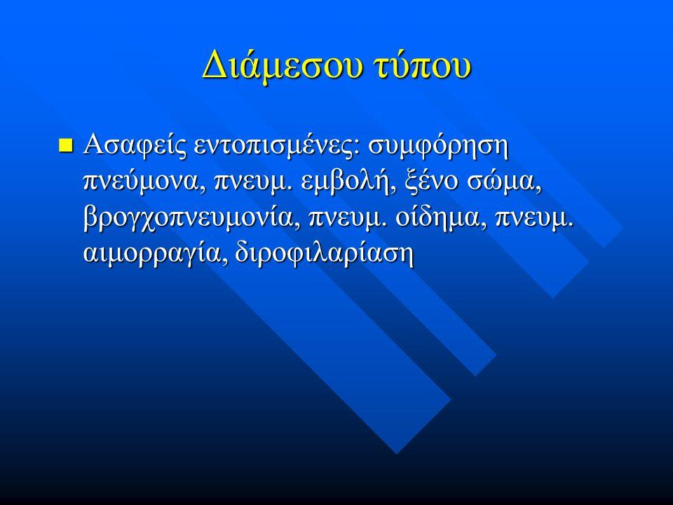 Διάμεσου τύπου Ασαφείς εντοπισμένες: συμφόρηση πνεύμονα, πνευμ.