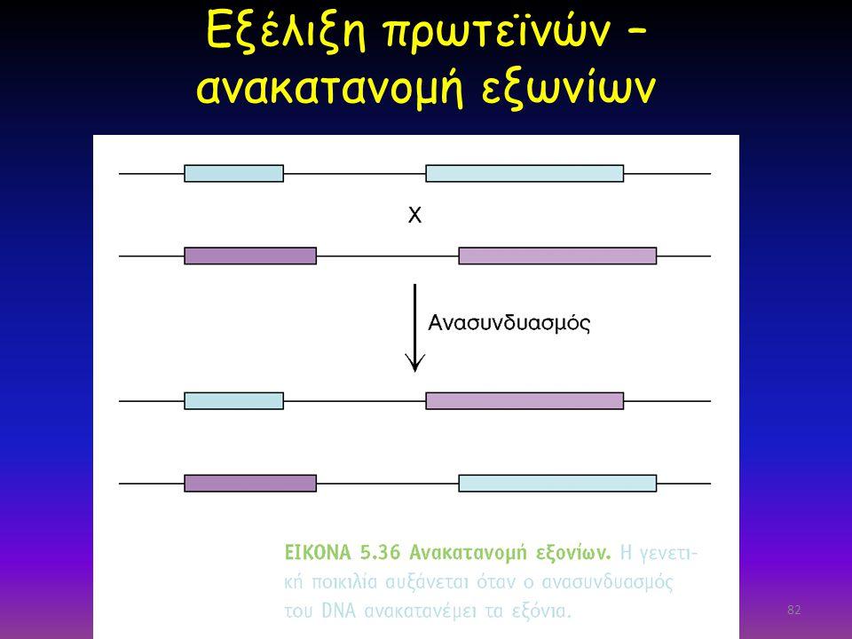 Εξέλιξη πρωτεϊνών – ανακατανομή εξωνίων