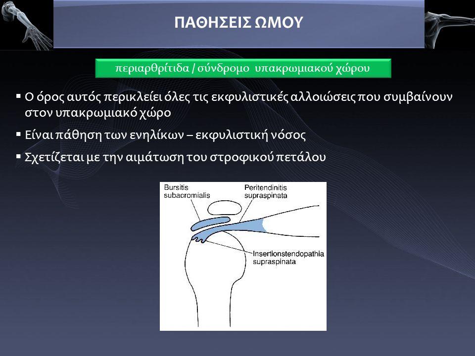 περιαρθρίτιδα / σύνδρομο υπακρωμιακού χώρου