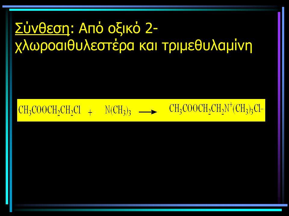 Σύνθεση: Από οξικό 2-χλωροαιθυλεστέρα και τριμεθυλαμίνη