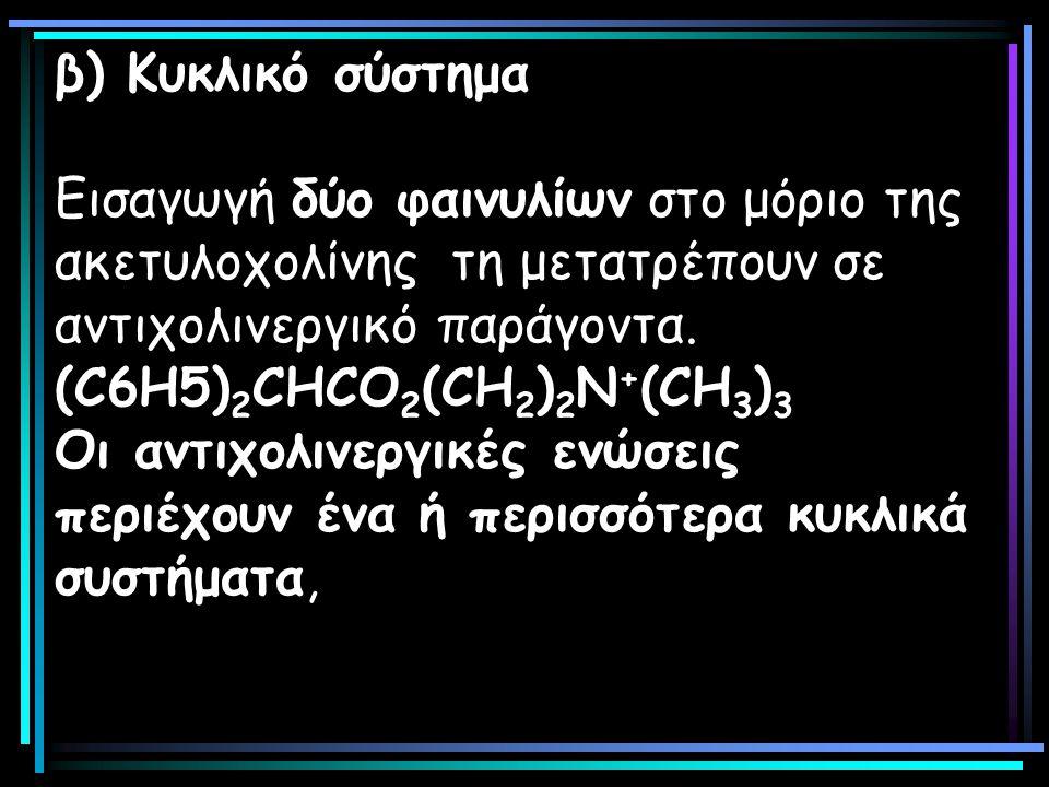 β) Κυκλικό σύστημα Εισαγωγή δύο φαινυλίων στο μόριο της ακετυλοχολίνης τη μετατρέπουν σε αντιχολινεργικό παράγοντα.