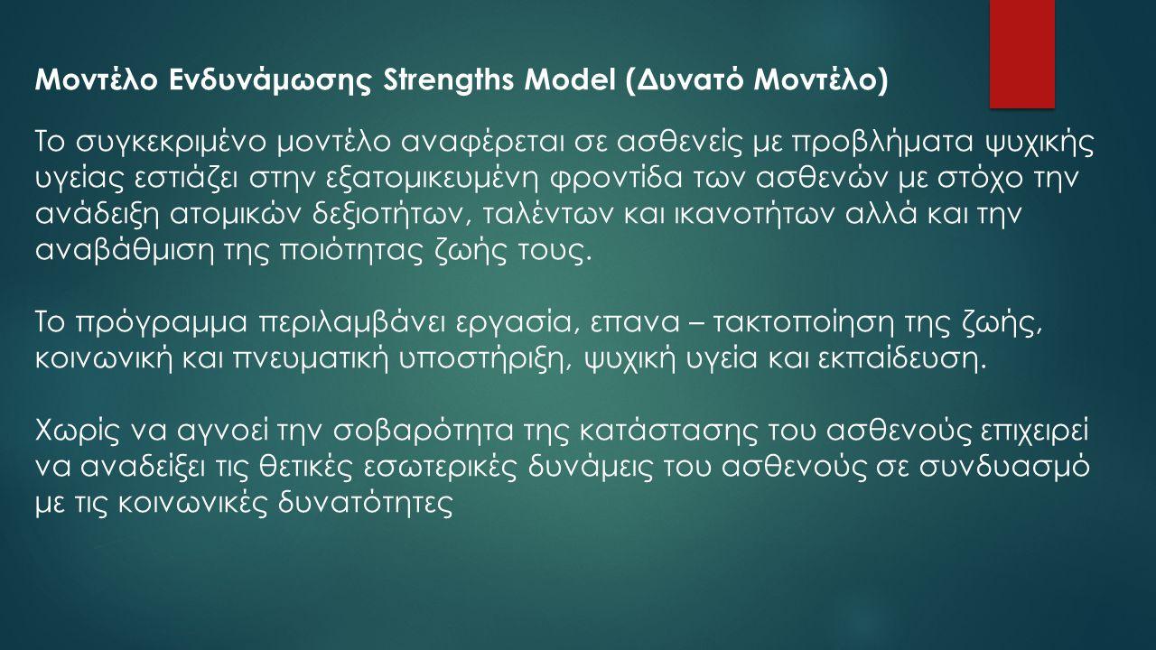 Μοντέλο Ενδυνάμωσης Strengths Model (Δυνατό Μοντέλο)
