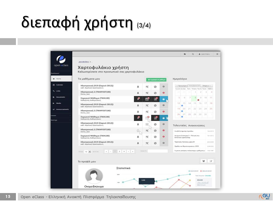 διεπαφή χρήστη (3/4) Open eClass - Ελληνική Ανοικτή Πλατφόρμα Τηλεκπαίδευσης