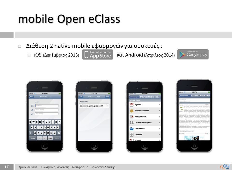 mobile Open eClass Διάθεση 2 native mobile εφαρμογών για συσκευές :