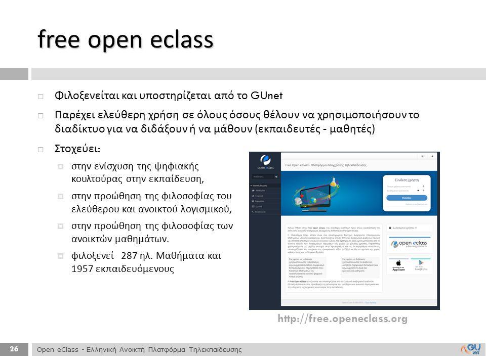 free open eclass Φιλοξενείται και υποστηρίζεται από το GUnet