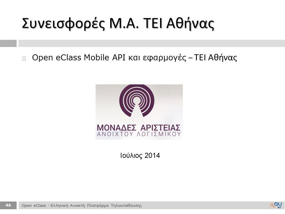 Συνεισφορές Μ.Α. ΤΕΙ Αθήνας