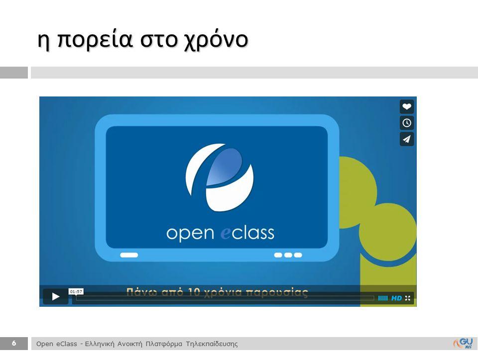η πορεία στο χρόνο Open eClass - Ελληνική Ανοικτή Πλατφόρμα Τηλεκπαίδευσης
