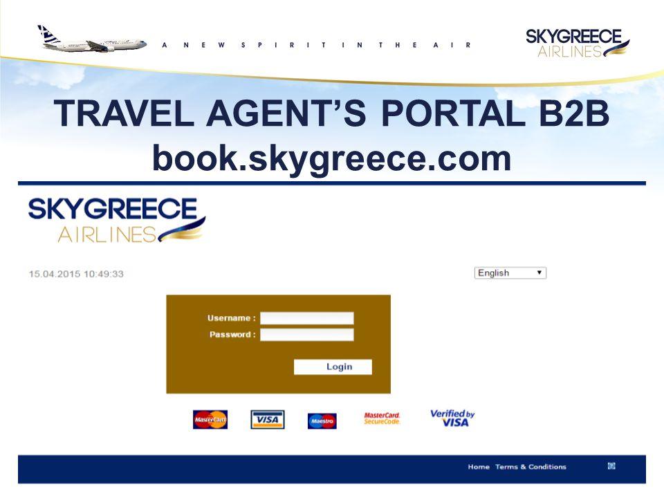 TRAVEL AGENT'S PORTAL B2B book.skygreece.com