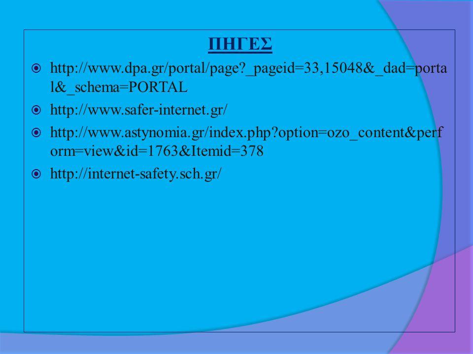 ΠΗΓΕΣ http://www.dpa.gr/portal/page _pageid=33,15048&_dad=portal&_schema=PORTAL. http://www.safer-internet.gr/