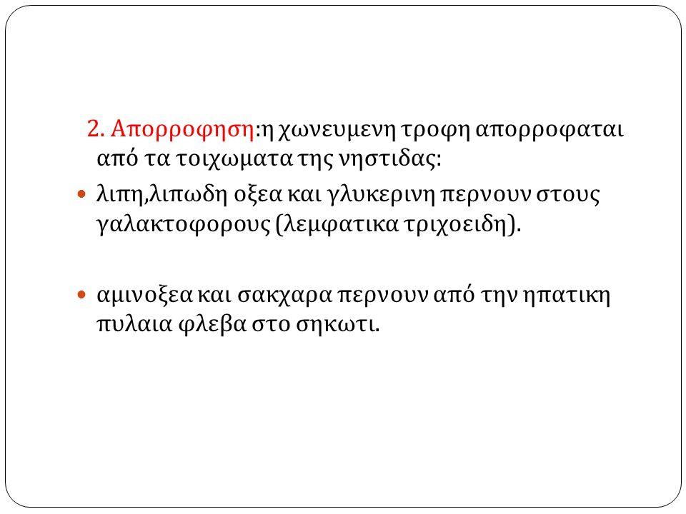 2. Απορροφηση:η χωνευμενη τροφη απορροφαται από τα τοιχωματα της νηστιδας: