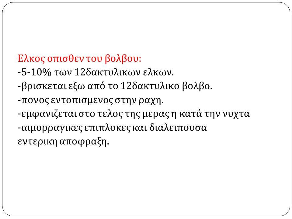 Ελκος οπισθεν του βολβου: -5-10% των 12δακτυλικων ελκων