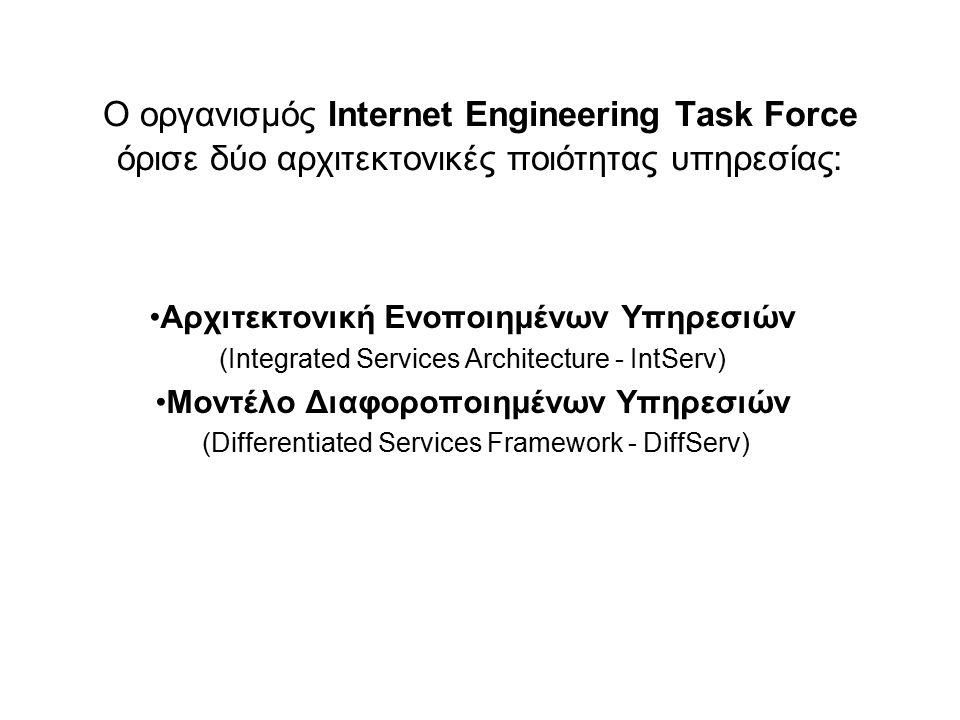 Ο οργανισμός Internet Engineering Task Force όρισε δύο αρχιτεκτονικές ποιότητας υπηρεσίας:
