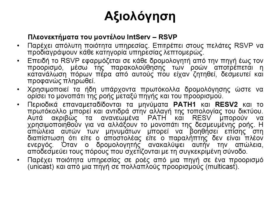 Αξιολόγηση Πλεονεκτήματα του μοντέλου IntServ – RSVP